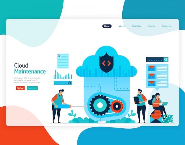 Illustrazione piatta della manutenzione del cloud. riparazione e manutenzione della tecnologia di cloud storage.