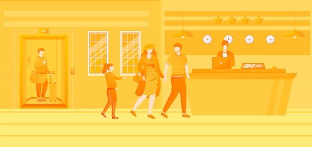 Illustrazione piatta di clienti dell'hotel. le persone con bambino vicino alla reception. prenotazione camera, servizio di ospitalità. ingresso, area di attesa, reception. personaggi dei cartoni animati di receptionist e ospiti