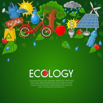 Illustrazione piatta di ecologia
