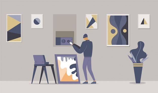 Illustrazione piatta di furto appartamento fantasia.