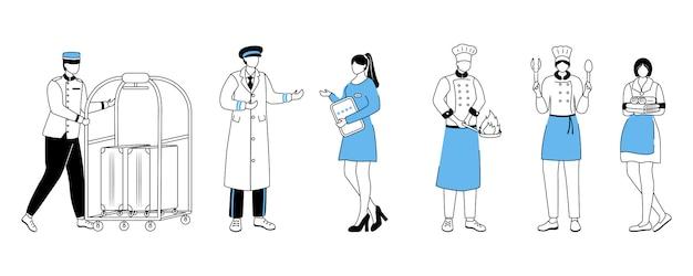 Illustrazione piatta di lavoratori dell'hotel. portiere con carrello portabagagli, direttore del resort. portieri, chef con utensili da cucina. domestica, assistente di sala. assista il personaggio dei cartoni animati della roba con il profilo su bianco