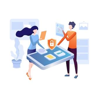 Illustrazione piatta di protezione dei dati