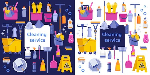 Illustrazione piatta di servizio di pulizia. modello del manifesto per i servizi di pulizia della casa.