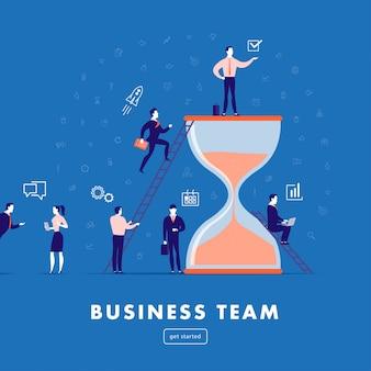 Illustrazione piatta minimalista - lavoro di gruppo aziendale, gestione del progetto, comunicazione aziendale, flusso di lavoro. icone di affari, gente dell'ufficio - successo della squadra.