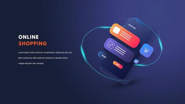 Illustrazione piatta mobile shopping online