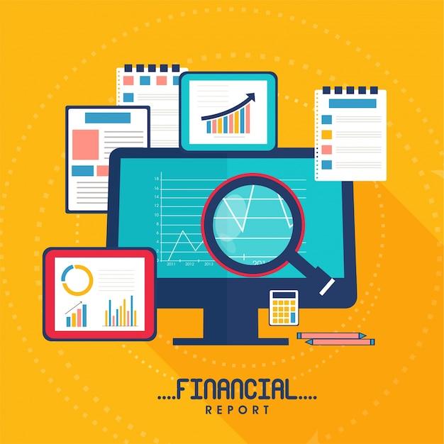 Illustrazione piatta per business report business con dispositivi digitali e documenti cartacei.
