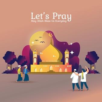 Illustrazione piatta per ramadan o preghiera islamica