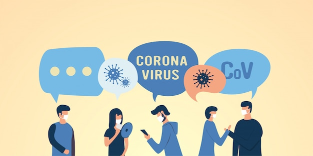 Illustrazione piatta persone mascherate. pazienti con coronovirus, raffreddore, influenza, polmonite, tosse. protezione della salute. respiratore. maschere mediche