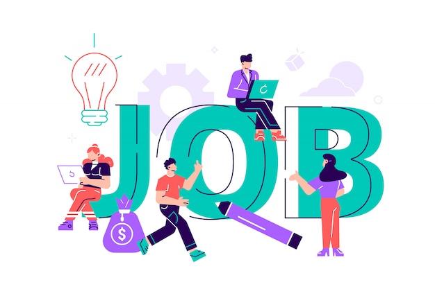 Illustrazione piatta, ricerca di lavoro, reclutamento, gruppo di lavoro, libero professionista, web graphic design. concetto di assunzione e assunzione per pagina web, banner, presentazione. colloquio di lavoro, agenzia di collocamento