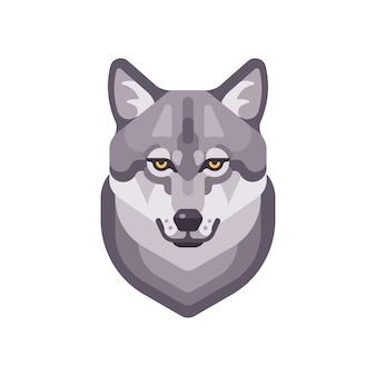 Illustrazione piatta testa di lupo. icona faccia animale selvatico