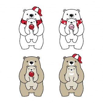 Illustrazione polare del bambino del personaggio dei cartoni animati dell'orso