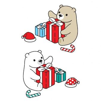 Illustrazione polare del fumetto del contenitore di regalo di natale di compleanno dell'orso