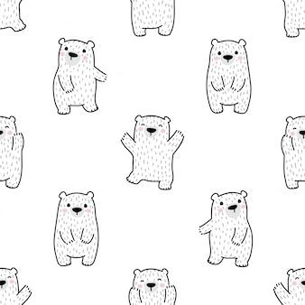 Illustrazione polare del fumetto del modello senza cuciture dell'orso