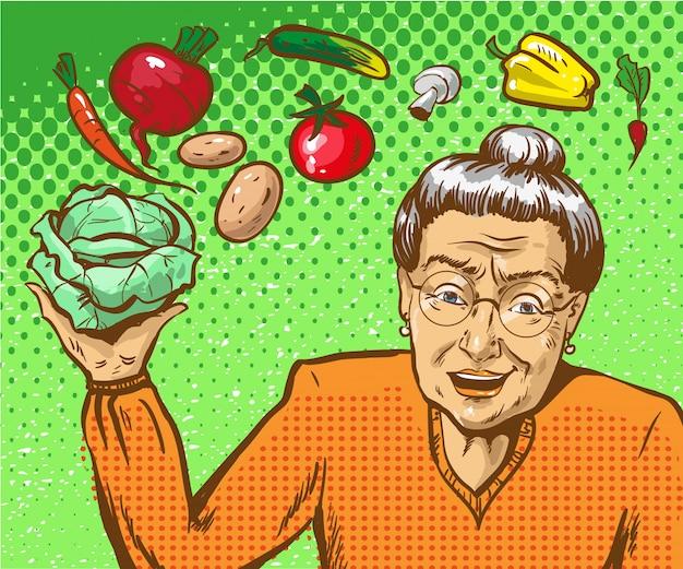 Illustrazione pop art di donna matura con verdure