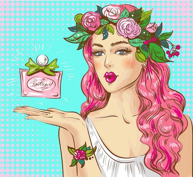 Illustrazione pop art di profumo pubblicità donna