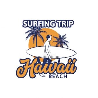 Illustrazione praticante il surfing della spiaggia dell'hawai di viaggio nello stile d'annata