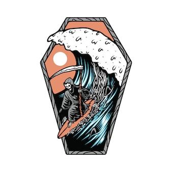Illustrazione praticante il surfing della spiaggia di estate di morte dello scheletro del cranio