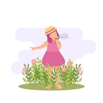 Illustrazione primavera ragazza carina bambino giocando fiore e farfalla alla festa in giardino all'aperto