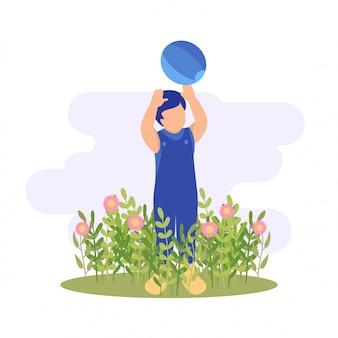 Illustrazione primavera ragazzo carino ragazzo giocando fiore e palla alla natura