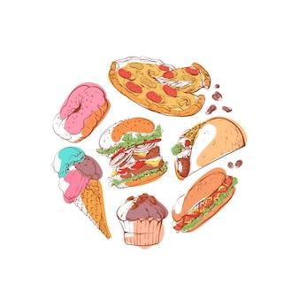 Illustrazione pronta dell'alimento di via con alimenti a rapida preparazione