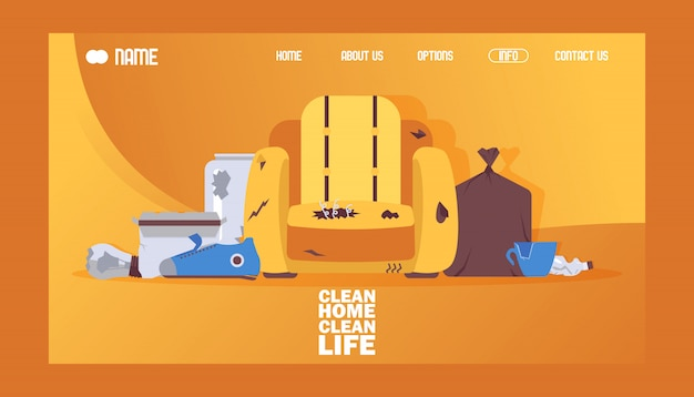 Illustrazione pulita di vettore di progettazione del sito web dell'insegna di vita pulita domestica. sedia rotta e sporca, borsa con immondizia o spazzatura.