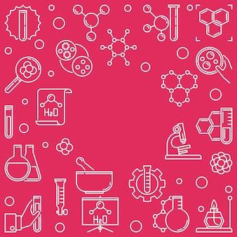 Illustrazione quadrata di linea chimica con cornice rotonda