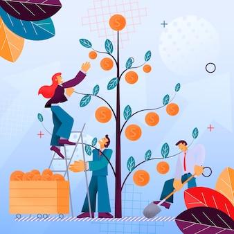 Illustrazione raccolta di frutta investimento finanziario
