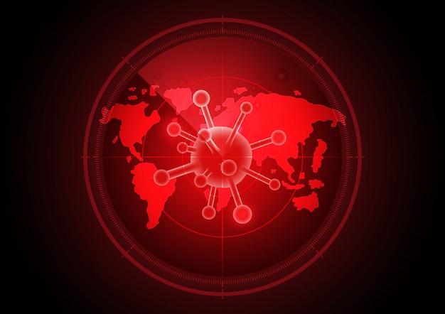 Illustrazione radar del mondo malattia coronavirus covid-19