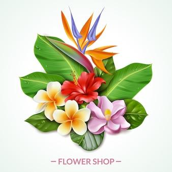 Illustrazione raelistica della composizione nei fiori esotici. illustrazione composta da fogliame esotico tropicale isolato di fiori e foglie bouquet in stile realistico