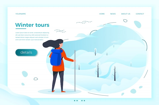 Illustrazione, ragazza del turista di inverno che osserva sulla montagna per scalare. boschi, alberi e colline