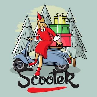 Illustrazione ragazza scooter