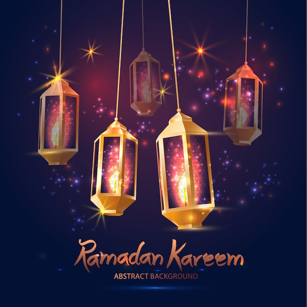 Illustrazione ramadan kareem background con lampade.