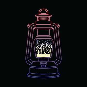 Illustrazione rampicante d'escursione di campeggio della lanterna