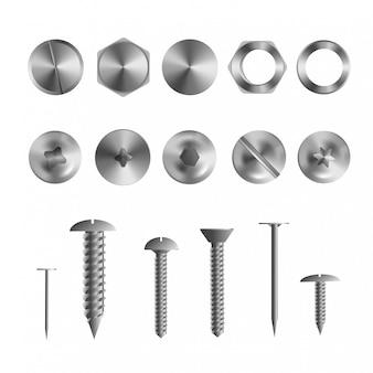Illustrazione realistica 3d dei bulloni, dei chiodi e delle viti dell'acciaio inossidabile su bianco
