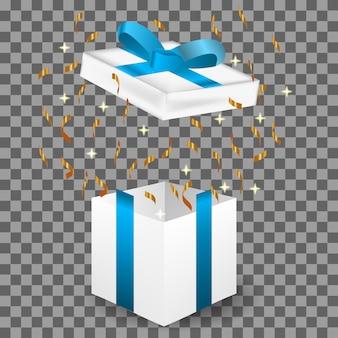 Illustrazione realistica 3d del regalo, compleanno, natale e buon anno