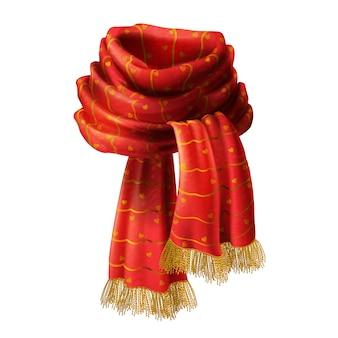 Illustrazione realistica 3d della sciarpa lavorata a maglia rossa con il reticolo decorativo e frangia dell'oro, isola