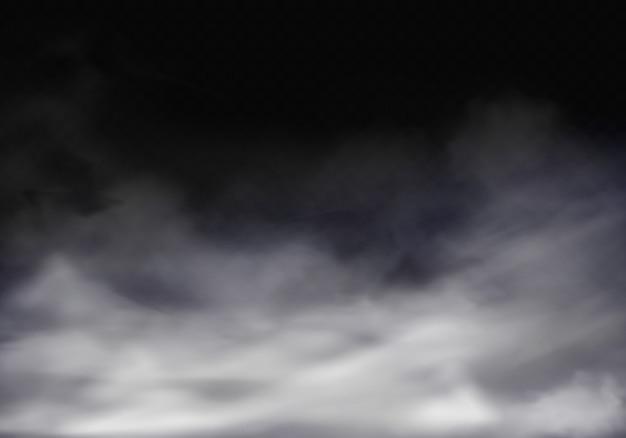 Illustrazione realistica 3d di nebbia, nebbia grigia o fumo di sigaretta.