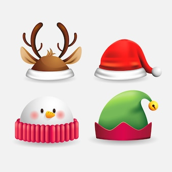 Illustrazione realistica cappelli di carattere natalizio