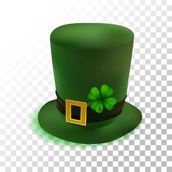 Illustrazione realistica cappello verde st patricks day con trifoglio su trasparente