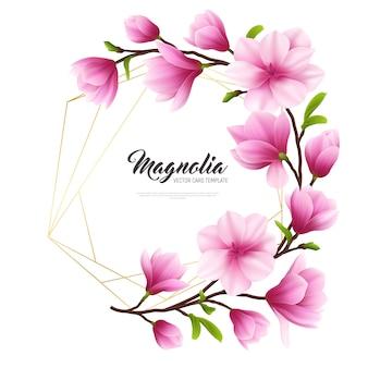 Illustrazione realistica colorata del fiore della magnolia con composizione dorata e rosa alla moda e bellezza