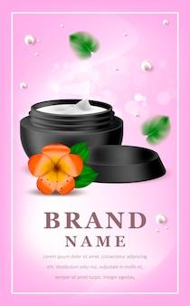 Illustrazione realistica con crema cosmetica nera
