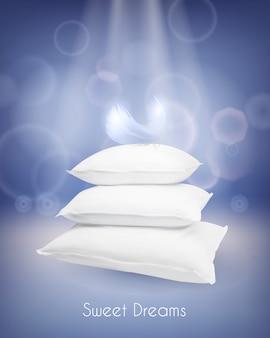 Illustrazione realistica con cuscini bianchi e piuma.