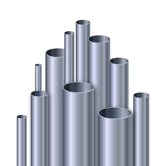 Illustrazione realistica dei tubi di alluminio
