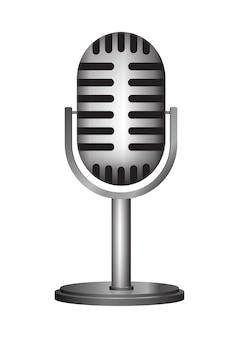 Illustrazione realistica del microfono dell'annata isolata