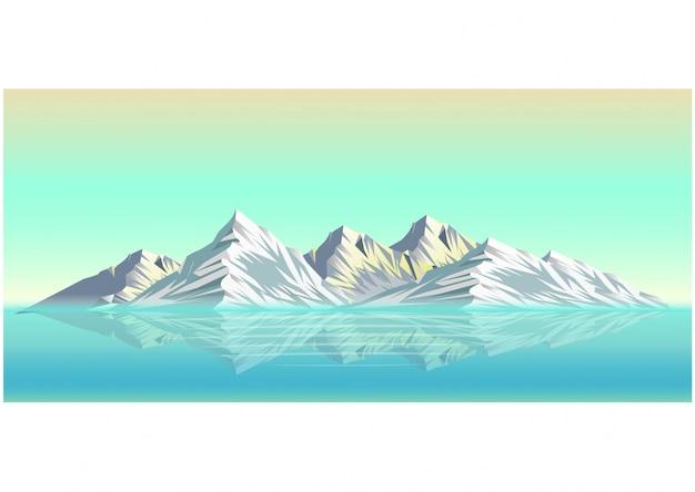 Illustrazione realistica del paesaggio montano di neve