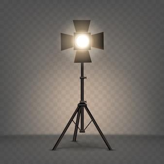 Illustrazione realistica del riflettore con luce calda