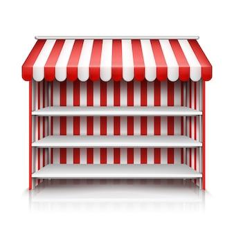Illustrazione realistica della bancarella del mercato con la tenda a strisce rossa e bianca