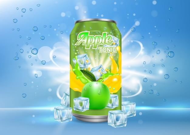 Illustrazione realistica della latta di alluminio tonica della mela