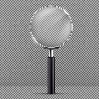 Illustrazione realistica della lente d'ingrandimento con manico in plastica nera