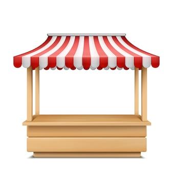 Illustrazione realistica della stalla del mercato vuoto con tenda a strisce rossa e bianca